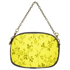 Flowery Yellow Fabric Chain Purses (two Sides)  by Nexatart