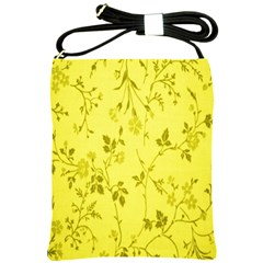 Flowery Yellow Fabric Shoulder Sling Bags by Nexatart