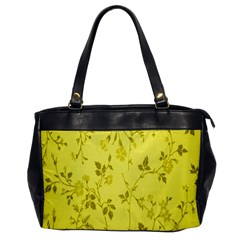 Flowery Yellow Fabric Office Handbags by Nexatart