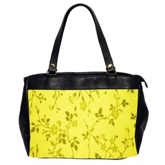 Flowery Yellow Fabric Office Handbags (2 Sides)  by Nexatart