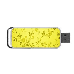 Flowery Yellow Fabric Portable Usb Flash (two Sides) by Nexatart