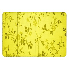 Flowery Yellow Fabric Samsung Galaxy Tab 8 9  P7300 Flip Case by Nexatart