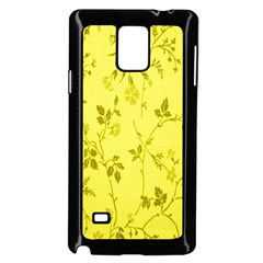 Flowery Yellow Fabric Samsung Galaxy Note 4 Case (black) by Nexatart