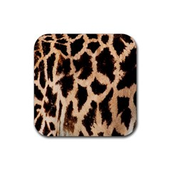 Giraffe Texture Yellow And Brown Spots On Giraffe Skin Rubber Square Coaster (4 Pack)  by Nexatart