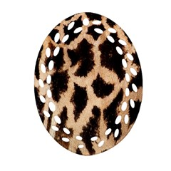 Giraffe Texture Yellow And Brown Spots On Giraffe Skin Oval Filigree Ornament (two Sides) by Nexatart