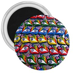 The Eye Of Osiris As Seen On Mediterranean Fishing Boats For Good Luck 3  Magnets by Nexatart