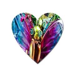 Magic Butterfly Art In Glass Heart Magnet by Nexatart