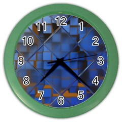 Glass Abstract Art Pattern Color Wall Clocks by Nexatart
