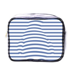 Animals Illusion Penguin Line Blue White Mini Toiletries Bags by Mariart
