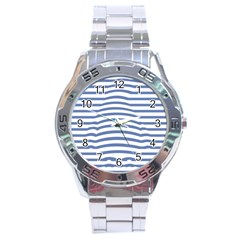 Animals Illusion Penguin Line Blue White Stainless Steel Analogue Watch by Mariart