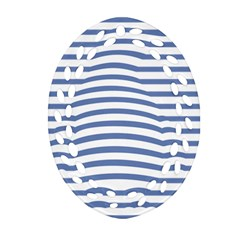 Animals Illusion Penguin Line Blue White Ornament (Oval Filigree) by Mariart