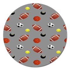 Balltiled Grey Ball Tennis Football Basketball Billiards Magnet 5  (round) by Mariart