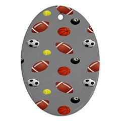 Balltiled Grey Ball Tennis Football Basketball Billiards Oval Ornament (two Sides) by Mariart