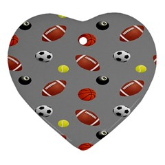 Balltiled Grey Ball Tennis Football Basketball Billiards Heart Ornament (two Sides) by Mariart