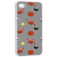 Balltiled Grey Ball Tennis Football Basketball Billiards Apple Iphone 4/4s Seamless Case (white) by Mariart