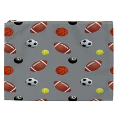 Balltiled Grey Ball Tennis Football Basketball Billiards Cosmetic Bag (xxl)  by Mariart