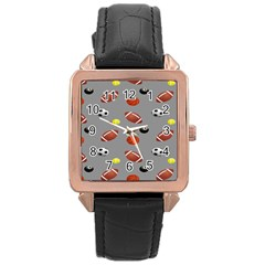 Balltiled Grey Ball Tennis Football Basketball Billiards Rose Gold Leather Watch  by Mariart