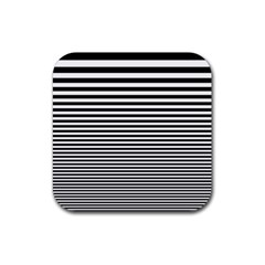 Black White Line Rubber Coaster (square)  by Mariart