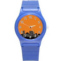 City Building Orange Round Plastic Sport Watch (s) by Mariart