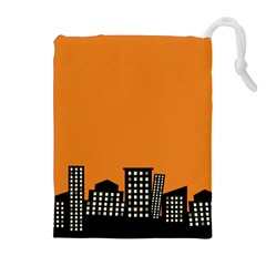 City Building Orange Drawstring Pouches (extra Large) by Mariart