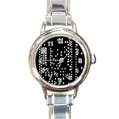 Circle Plaid Black White Round Italian Charm Watch by Mariart