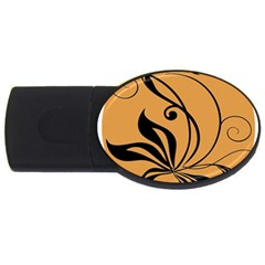 Black Brown Floral Symbol Usb Flash Drive Oval (4 Gb) by Mariart