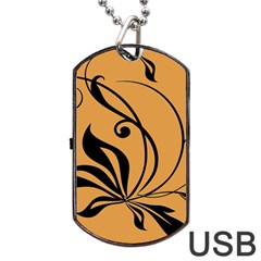 Black Brown Floral Symbol Dog Tag Usb Flash (two Sides) by Mariart