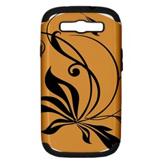 Black Brown Floral Symbol Samsung Galaxy S Iii Hardshell Case (pc+silicone) by Mariart