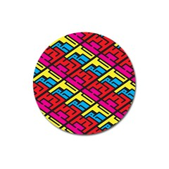 Color Red Yellow Blue Graffiti Magnet 3  (round) by Mariart