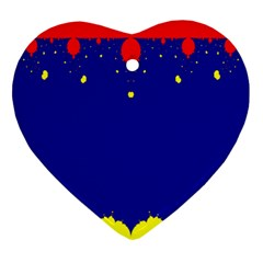 Critical Points Line Circle Red Blue Yellow Ornament (heart) by Mariart