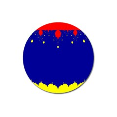 Critical Points Line Circle Red Blue Yellow Magnet 3  (round) by Mariart