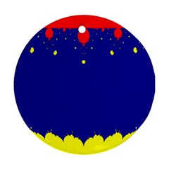 Critical Points Line Circle Red Blue Yellow Round Ornament (two Sides) by Mariart