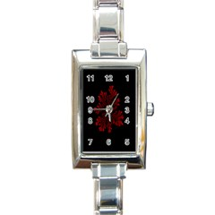 Dendron Diffusion Aggregation Flower Floral Leaf Red Black Rectangle Italian Charm Watch by Mariart