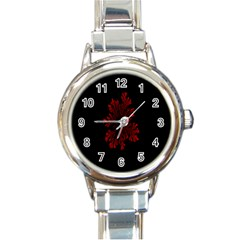 Dendron Diffusion Aggregation Flower Floral Leaf Red Black Round Italian Charm Watch by Mariart