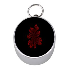 Dendron Diffusion Aggregation Flower Floral Leaf Red Black Mini Silver Compasses by Mariart