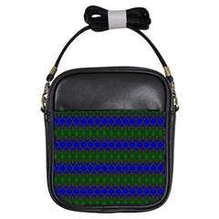 Diamond Alt Blue Green Woven Fabric Girls Sling Bags by Mariart