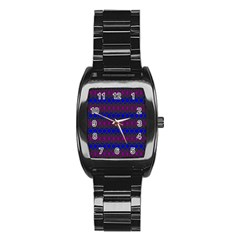 Diamond Alt Blue Purple Woven Fabric Stainless Steel Barrel Watch by Mariart