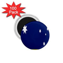 Flag Star Blue Green Yellow 1 75  Magnets (100 Pack)  by Mariart