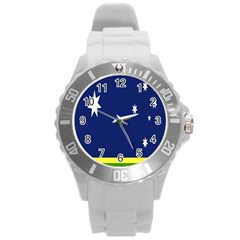 Flag Star Blue Green Yellow Round Plastic Sport Watch (l) by Mariart