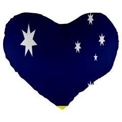 Flag Star Blue Green Yellow Large 19  Premium Heart Shape Cushions by Mariart