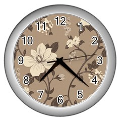 Floral Flower Rose Leaf Grey Wall Clocks (silver)  by Mariart