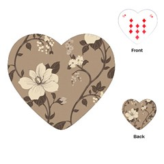 Floral Flower Rose Leaf Grey Playing Cards (heart)  by Mariart
