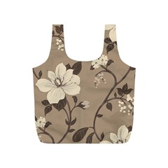 Floral Flower Rose Leaf Grey Full Print Recycle Bags (s)  by Mariart