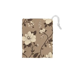 Floral Flower Rose Leaf Grey Drawstring Pouches (xs)  by Mariart