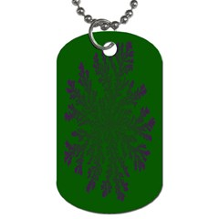 Dendron Diffusion Aggregation Flower Floral Leaf Green Purple Dog Tag (two Sides) by Mariart