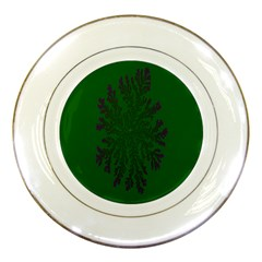 Dendron Diffusion Aggregation Flower Floral Leaf Green Purple Porcelain Plates by Mariart