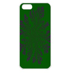 Dendron Diffusion Aggregation Flower Floral Leaf Green Purple Apple Iphone 5 Seamless Case (white) by Mariart