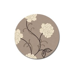 Flower Floral Black Grey Rose Magnet 3  (round) by Mariart