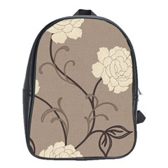 Flower Floral Black Grey Rose School Bags (xl)  by Mariart
