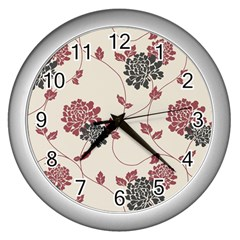 Flower Floral Black Pink Wall Clocks (silver)  by Mariart